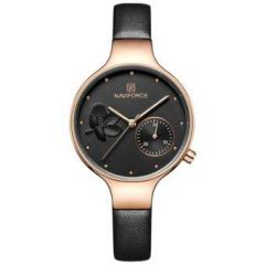 NAVIFORCE NF5001 Black PU Leather Sub-Dial Chronograph Watch For Women - Black & RoseGold